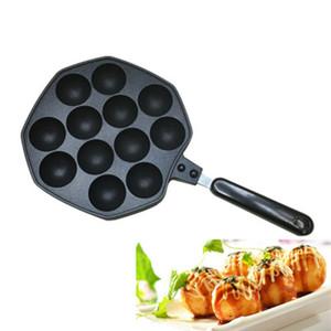 Las cavidades 12 de aleación de aluminio Pan Takoyaki Takoyaki fabricante pulpo bolas pequeñas Hornear forma moho Pan Inicio utensilios de cocina