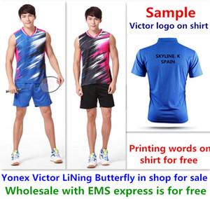 도매 무료 EMS, 무료, 새로운 배드민턴 셔츠 옷 탁구 T 스포츠 셔츠 옷 1061에 대한 텍스트 인쇄
