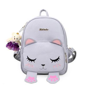 Flyone горячая искусственная кожа мода милый кот рюкзак черный опрятный стиль школьные рюкзаки женщины сумка медведь кулон девушка сумка