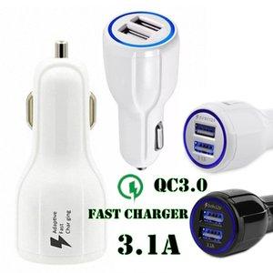 QC 3.0 Fast Car Charger Dual USB Port 3.1A Carga rápida 5V 9V 12V Qualcomm Adaptador de teléfono de carga rápida adaptable para Samsung S8 Iphone 7 8 X