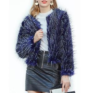 Neue Art und Weise Imitation blauer Pfau-Pelz-Mantel der Frauen Overcoat AutumnWinter Faux-Pelz-Mantel