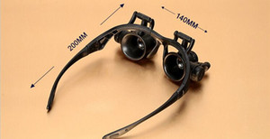 1x Occhiali Tipo Lente d'ingrandimento 10X 15X 20X 25X Occhio Gioielli Lenti di riparazione lente di ingrandimento con 2 luci LED Nuovo microscopio a lente d'ingrandimento zzh