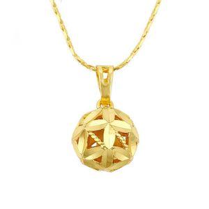 MGFam (202P) Ball Anhänger Halskette Für Frauen Modeschmuck 24 Karat Reines Gold Überzogen 45 cm Schlangenkette