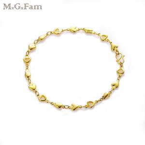 (248B) MGFam (21cm * 5mm) 레이디 사랑스러운 스타일을위한 24k 금 도금 심장 팔찌 Lead and Nickel Free