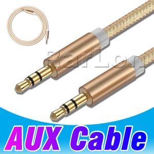 Aux Metal Kablo 3.5mm için 3.5mm Naylon Tel Altın kaplama Fiş Erkek Araba Ses Telefonu MP3 MP4 için Hoparlör Erkek Ses Kablosu Hoparlör