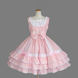 High Quality Sweet Lolita Dress 3 Colors Sleeveless Cotton Bow Dresses With Ruffles
