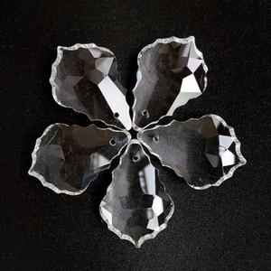 20 adet Temizle Kurşun Cam Kristaller Avize Lamba Prizmalar Parçaları Asılı Akçaağaç Yaprağı Kolye Aydınlatma Aksesuarları Dekorasyon