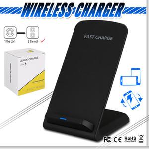 Qi cargador inalámbrico Fast 2 Bobinas soporte de carga del cojín para IPhone 11 X 10 Nota Galaxy S10 con el paquete