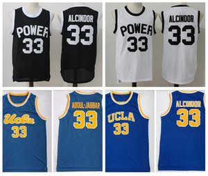 Hombre 33 Lewis Alcindor Jr. Power Memorial Academy High School Basketball Jersey Kareem Abdul-Jabbar UCLA Bruins College Basketball Shirts