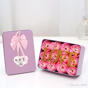 Rose Soaps Flower Square Romantic Girls San Valentino Bouquet con Love Bath Body Soap Flowers per matrimonio Portable Light 7 5ms cc