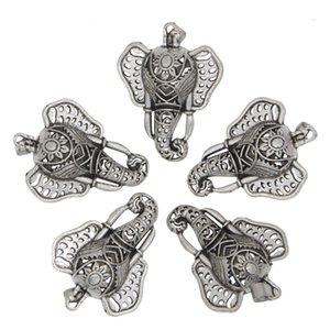 Antique Silver Flower Elefante Cabeça Medalhão Aromaterapia Óleo Essencial Difusor Bead Pearl Gaiola Pingente Para Colar de Jóias Fazendo Presente
