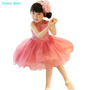 Humor Bear Casual Style Mädchen Kleidung Mode Mädchen Pailletten Weste Kleider Baby Mädchen Kleid Kinder Kleidung