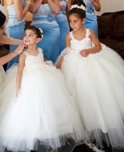 Vestido de gala de princesa Vestidos de niña de flores con una gran longitud del piso de proa Correas de espagueti sin espalda formales Falda de tul Niños Vestidos de desfile Bodas