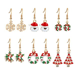 Wholesale Fahion Santa Claus Snowflake Christmas Gift Box Donuts Earrings Set Snow Gift Hat Bell Milu deer Tree 6pairs set mix order