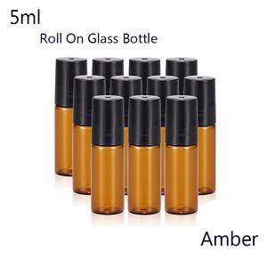 50pcs / lot portátil 5 ml (1/6 oz) MINI ROLL ON Fragancia de botella de vidrio PERFUME BOTELLAS DE CRISTAL ACEITE ESENCIAL Bola de rodillo de metal de acero (ámbar)
