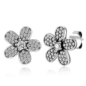 925 Okside Gümüş Kristal CZ Çiçek 13mm Mesaj Saplama Küpe 1 Pair