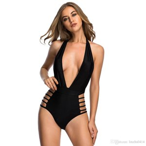 Varleinsar Sexy Profunda V pescoço de cintura alta one piece swimsuit strappy monokini backless feminino swimwear mulheres maiô nadar V78