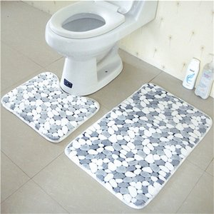 New 2pcs Cotton Pebble shape Absorbent Soft Bath Pedestal Mat Toilet Non Slip Floor Rugs Sets Washable Home Decor