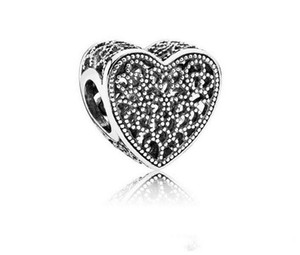 Promotion 30pc Silver Big Hole Diy Loose Bead Love Heart Charms Jewelry Marking Charm Fit Pandora European Style Bracelet Necklace Women
