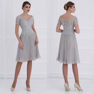 Modest Knee Lenth Ruched Chiffon Mother Of The Bride Dresses 2019 V Neck Lace Short Sleeves Siler Wedding Guest Party Gowns