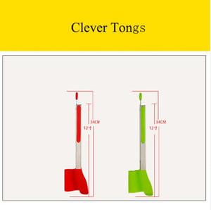 12 polegadas Clever Tongs 2-em-1 Cozinha Pinças Espátula Antiaderente Resistente Ao Calor Máquina de Lavar Louça Seguro Kitchen Helper Quadro Tongs Cozinha Ferramentas Verde Vermelho