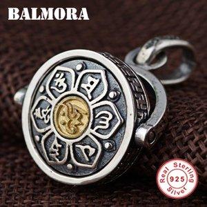 BALMORA 925 Sterling Silver Buddista Six Words 'Sutra Ciondoli Uomo Accessori per gioielli Ciondolo ruotato senza catena SY14328