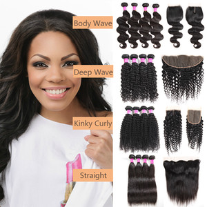 Brazilian Virgin Hair Straight Bundles With Closure Deep Wave Bundles with Frontal Water Wave Human Hair Weave Hair Extensions hot sale