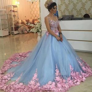 Vestidos de novia coloridos Arabia Saudita Azul cielo y rosa Vestidos de novia con flores en 3D Barrido por encargo Vestidos de boda