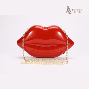 Sexy lips glamor women acrylic clutch evening bag European America style handbags Single chain shoulder bags purse 5121