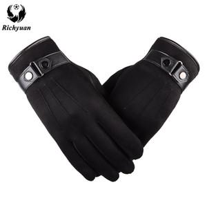 Besser warm Winter Herren Handschuhe Faux Wildleder Leder schwarz Lederhandschuhe männliche Winter Männer