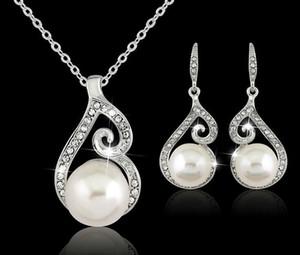 2018 Kadınlar Kristal Kolye Setleri Inci Kolye Kolye Küpe Takı Seti 925 Gümüş Zincir Kolye Takı 12 adet Satış Düğün Jewlery