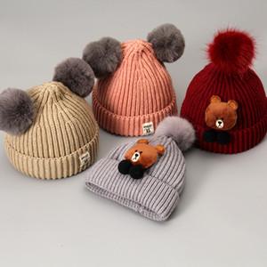 Милые вязаные шапки Микки для мальчика девочка шерстяная шапочка для волос Hairball для детей осень зима теплые детские шапки для подарка на день рождения