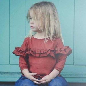 ins bambini abbigliamento t shirt vendita calda buon design tinta unita ruches 100% cotone ragazza bambini elegante t shirt tutto da abbinare