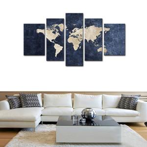 Ev Dekorasyonu için Tuval Giclee Artwork Wall Art Dünya Haritası ile Mazarine Arkaplan Resmi Print Boyama 5 Paneller Tuval Wall Art Mavi Haritası