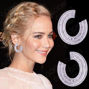 Vendita all'ingrosso Movie Star 35mm Luxury Full Mirco Pave Cubic Zirconia gioielli moda argento curvo orecchino