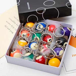 16pcs / Lot Wholesales Piscine Billard Keychain Porte-clés Boule Snooker Mini billard Porte-clés navire gratuit