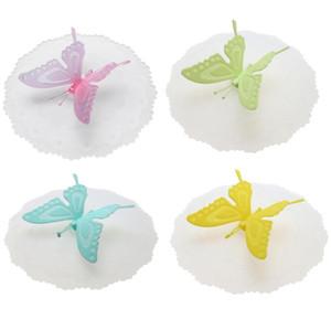 Couvercle de tasse de silicone mignon papillon étanches couvercle de thé café couvercle du couvercle de la coupe hermétique housses de cuisine