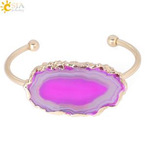 CSJA Pulseira Aberta para As Mulheres Irregular Pedra Natural Druzy Cuff Bracelet Fatia de Ágata Cor de Ouro Moda Metade Pulseras Jóias Presente Do Amante F346
