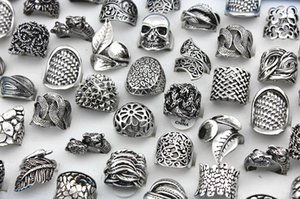 SENHUA Wholesale lots 25pcs Fashion Women Men Alloy Antique Silver Plated Ring Gypsy Big Metallic Wide Vintage Carved Rings GIFTS MR100