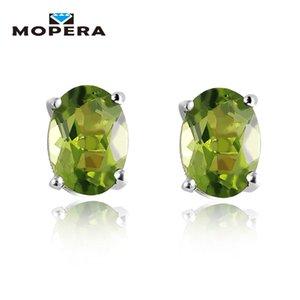 1.72ct Oval Natural Peridot Earrings Stud Genuine 925 Sterling Silver Jewelry Fabulous Vintage Gemstone Jewelry 2017 New