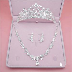 Mode Luxus Brautschmuck Strass Perlenkette Crown Ohrringe Brautkleider Günstige Hochzeit Zubehör Drei Stücke Schnelles Verschiffen