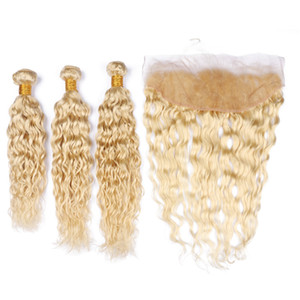 Bleach Blonde Water Wave Hair Bundles with Frontal Lace Closure # 613 Bleach Blonde Wet and Wavy Extensiones de tejido humano con frontal