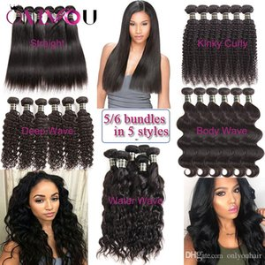 Brazilian Virgin Human Hair Bundles Kinky Curly Hair Weaves Body Deep Water Wave Straight Remy Human Hair Extension Peruvian Indian Wefts