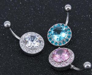 Top Qualität 316L Edelstahl Runde Kristall Nabel Bars Gold Bauchnabel Ring Nabel Piercing Schmuck