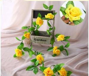 Wholesal 245 cm Düğün Dekorasyon Yapay Sahte Ipek Gül Çiçek Vine Asılı Çelenk Düğün Ev Dekor Dekoratif Çiçekler Çelenk