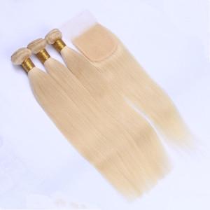 # 613 Virgin Virgin Peruvian Human Sedoso tejido recto con cierre 3Bundles Blonde Hair Bundles Deals con 4x4 Lace Front Closure