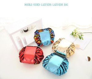 4 Color Sequin Lazy Cosmetic Bag Artículos de tocador de maquillaje Bolsa Cordón portátil Gran capacidad Multifunción Bolsa de almacenamiento para organizador de viajes multi