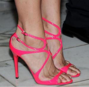 Or Métallique En Cuir Strappy Danse Sandales Femmes Parti Chaussures Femme À Bout Ouvert Cut-out Boucle Talons Haut Gladiateur Sandales