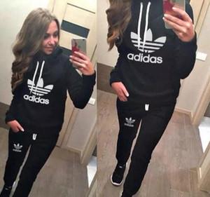 2019 Quente! Mulheres Ternos Esportivos Impresso Fatos Outono Longo-luva Casual Sportwear Trajes 2 Peça conjunto de roupas Hoodies Moletom