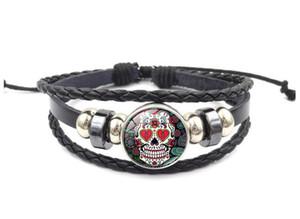 8 couleurs crâne de sucre gingembre bouton pression morceaux morceaux wrap multicouches verre cabochon bracelet bracelet manchette bracelet femmes temps pierres précieuses bracelets